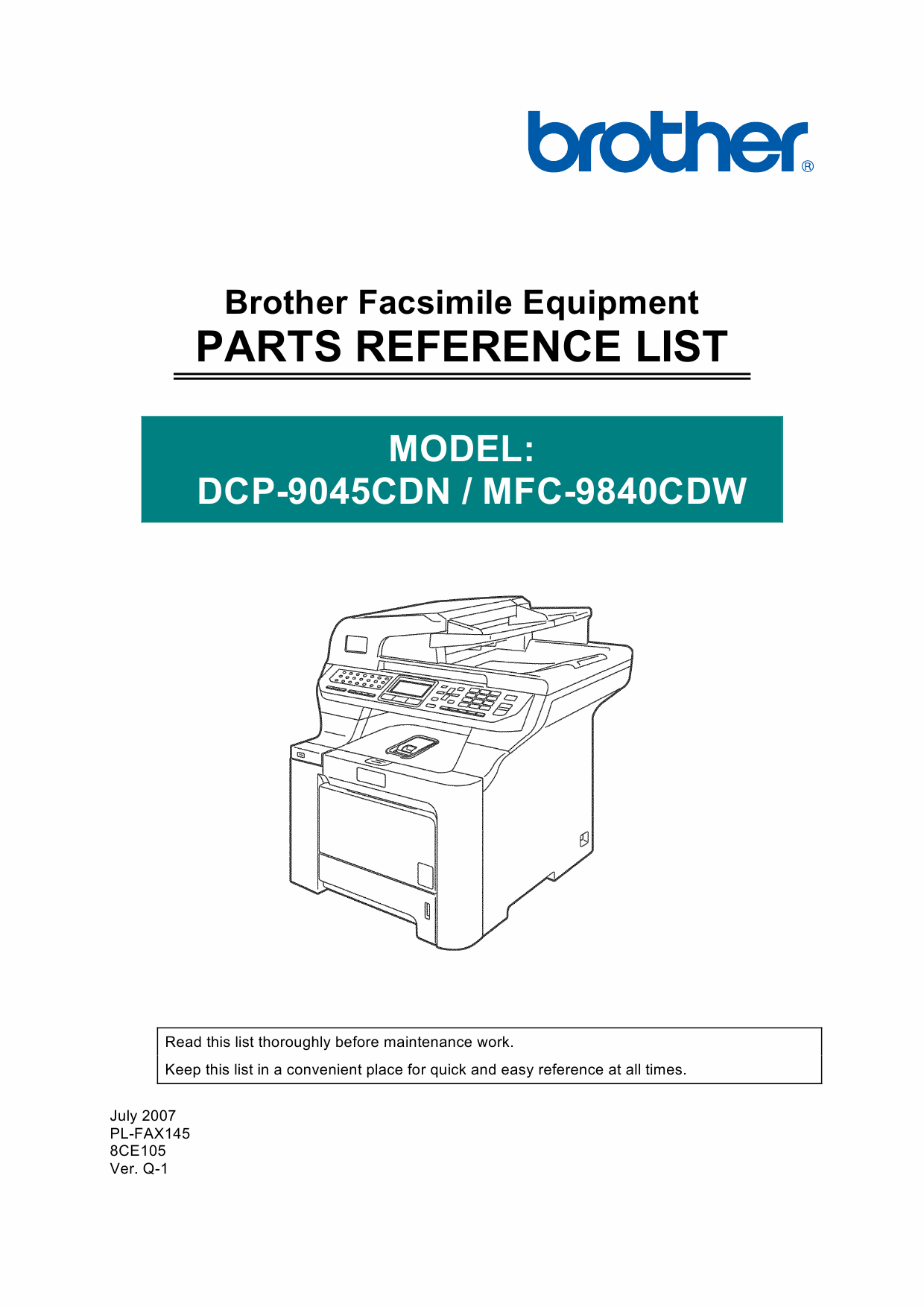 Brother Laser-MFC 9840CDW DCP9045CDN Parts Reference-1